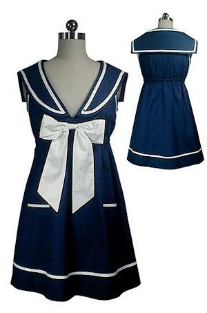 Mini-robe tunique style marin bleue  Joli noeud