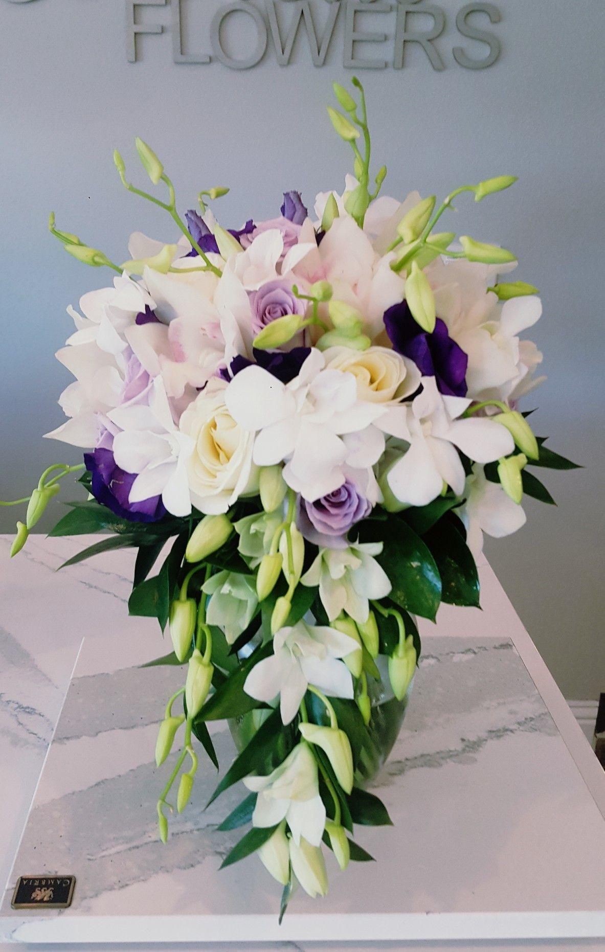Cascade Bouquet Lavenderflowers Designed By Scarlett S Flowers Bridal Bouquet Lavender Flowers Bouquet
