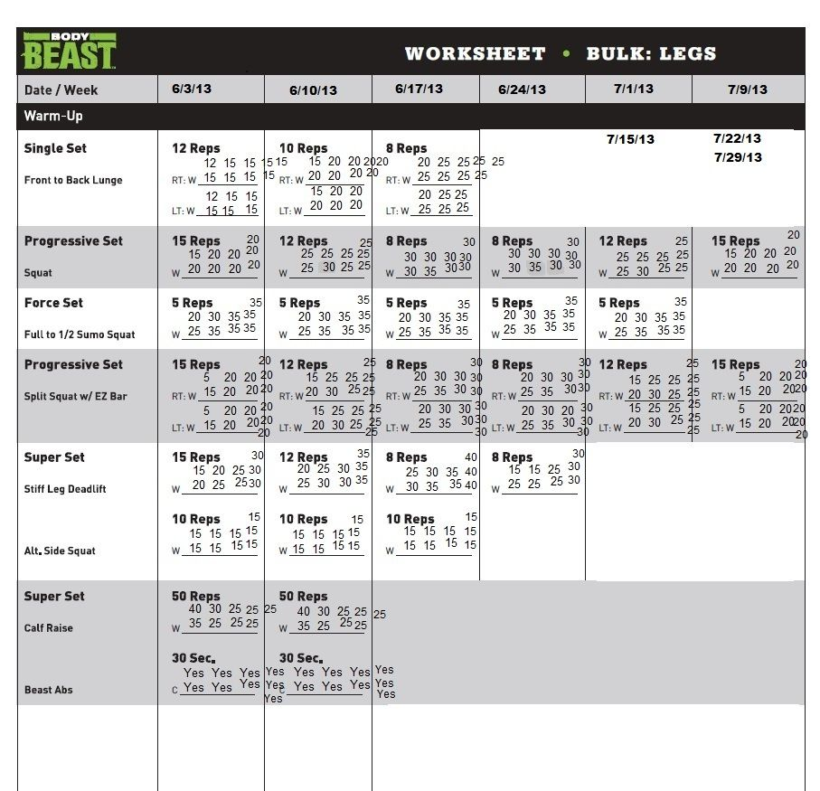 Body Beast Worksheet  Google Search  Gym Shit    Body