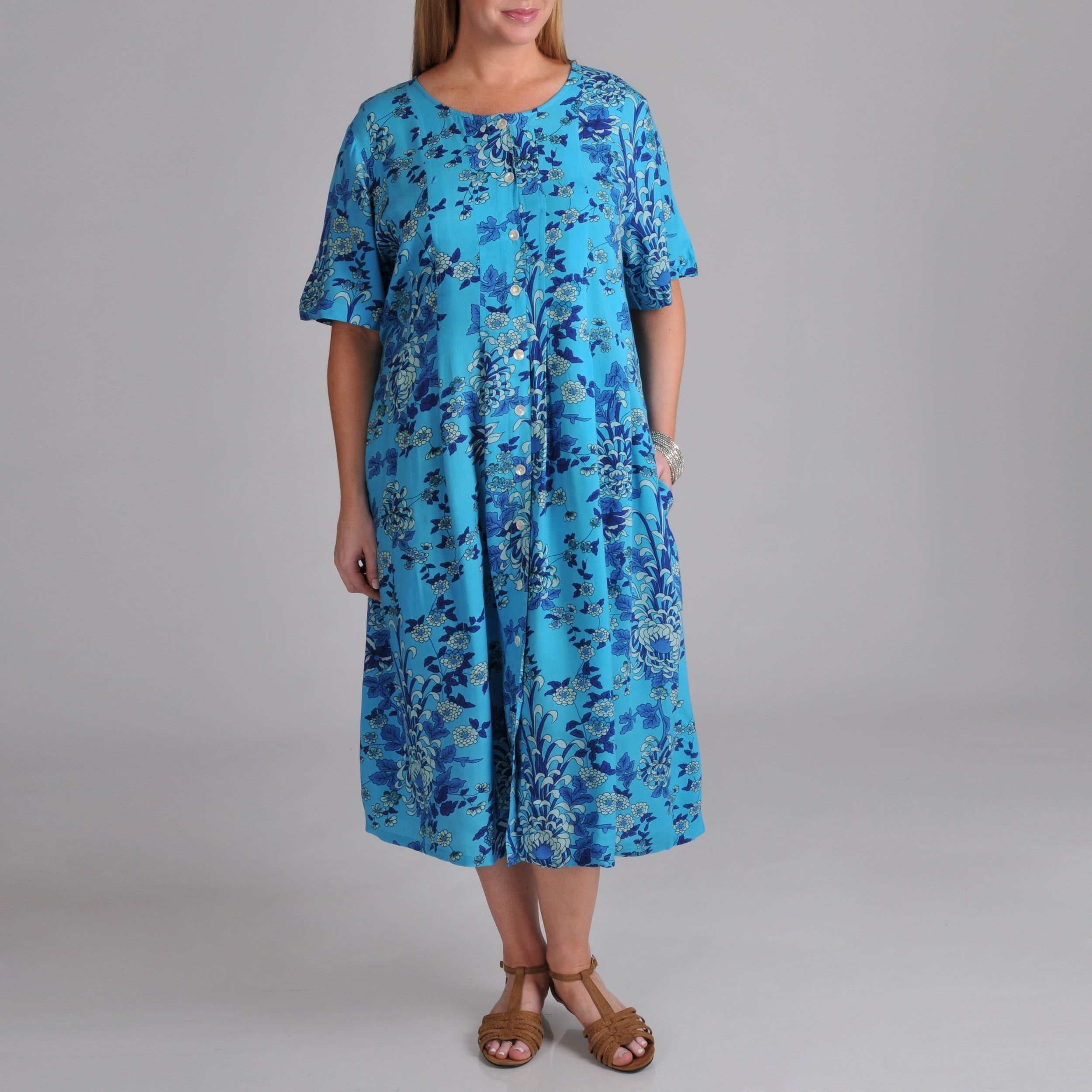 Plus Size La Cera Womens Plus Button Front Dress Products
