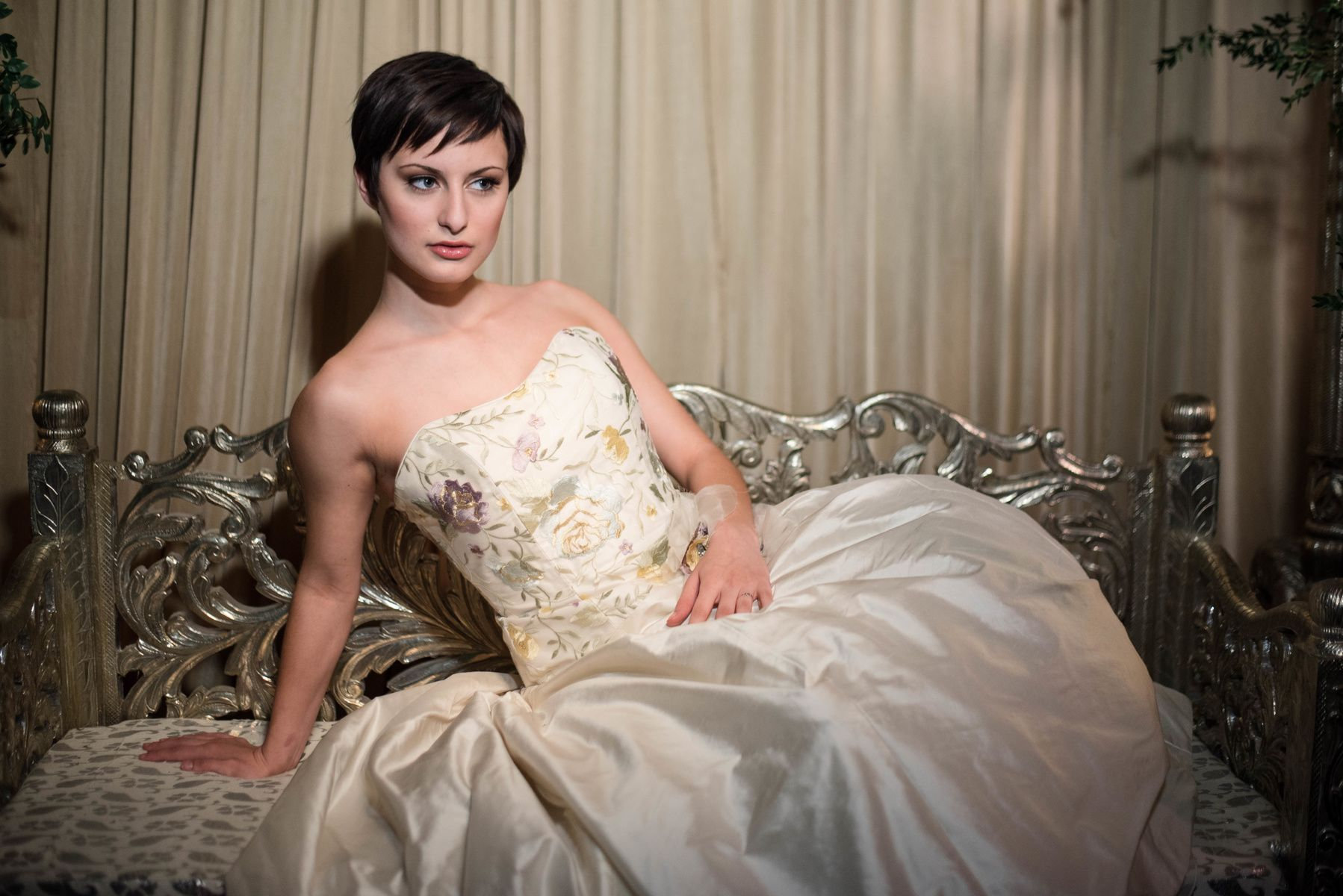 Rockford Wedding Photography by Brian Adams; pixie cut bridal hair; strapless bridal gown; Chicago; Alice Padrul Bridal Couture
