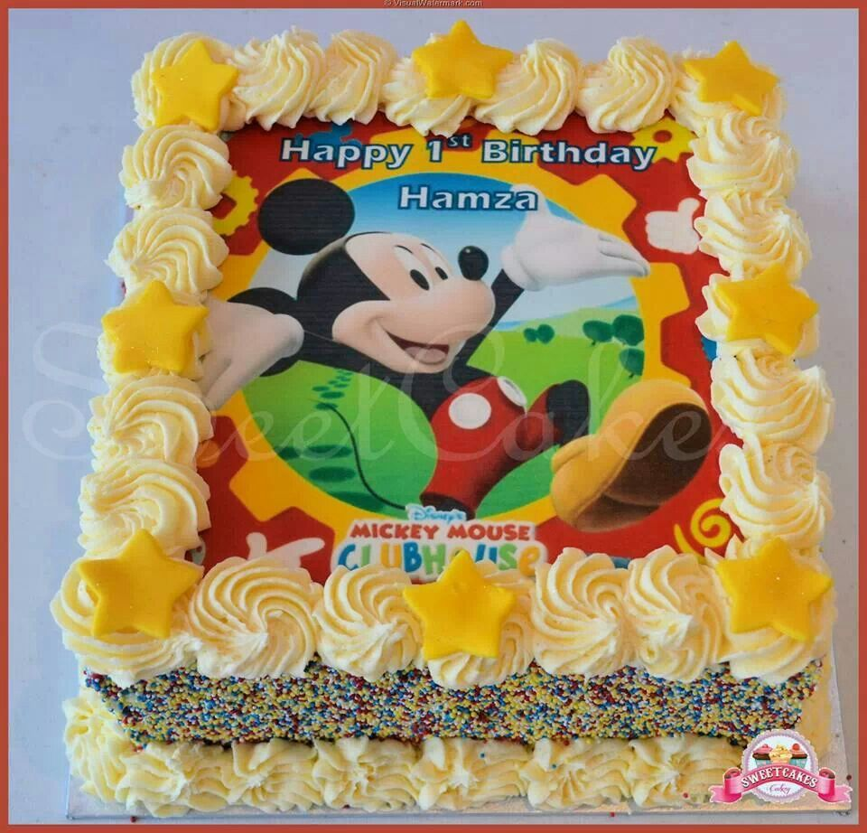 Mickey Mouse Clubhouse Buttercream Cake with a printed icing sheet