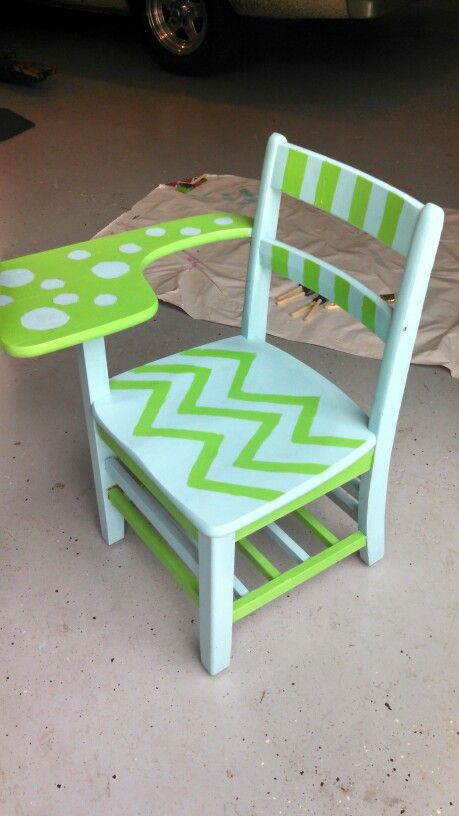 Hand Painted Wooden School Desk Painted Kids Chairs