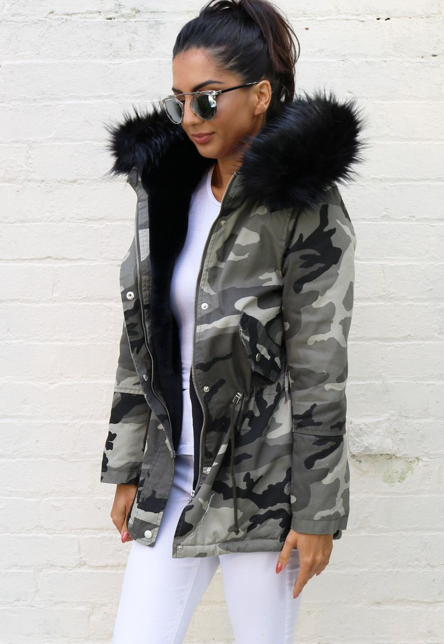 Milly Faux Fur Trim & Lined Hooded Parka in Camo Print with Black ...