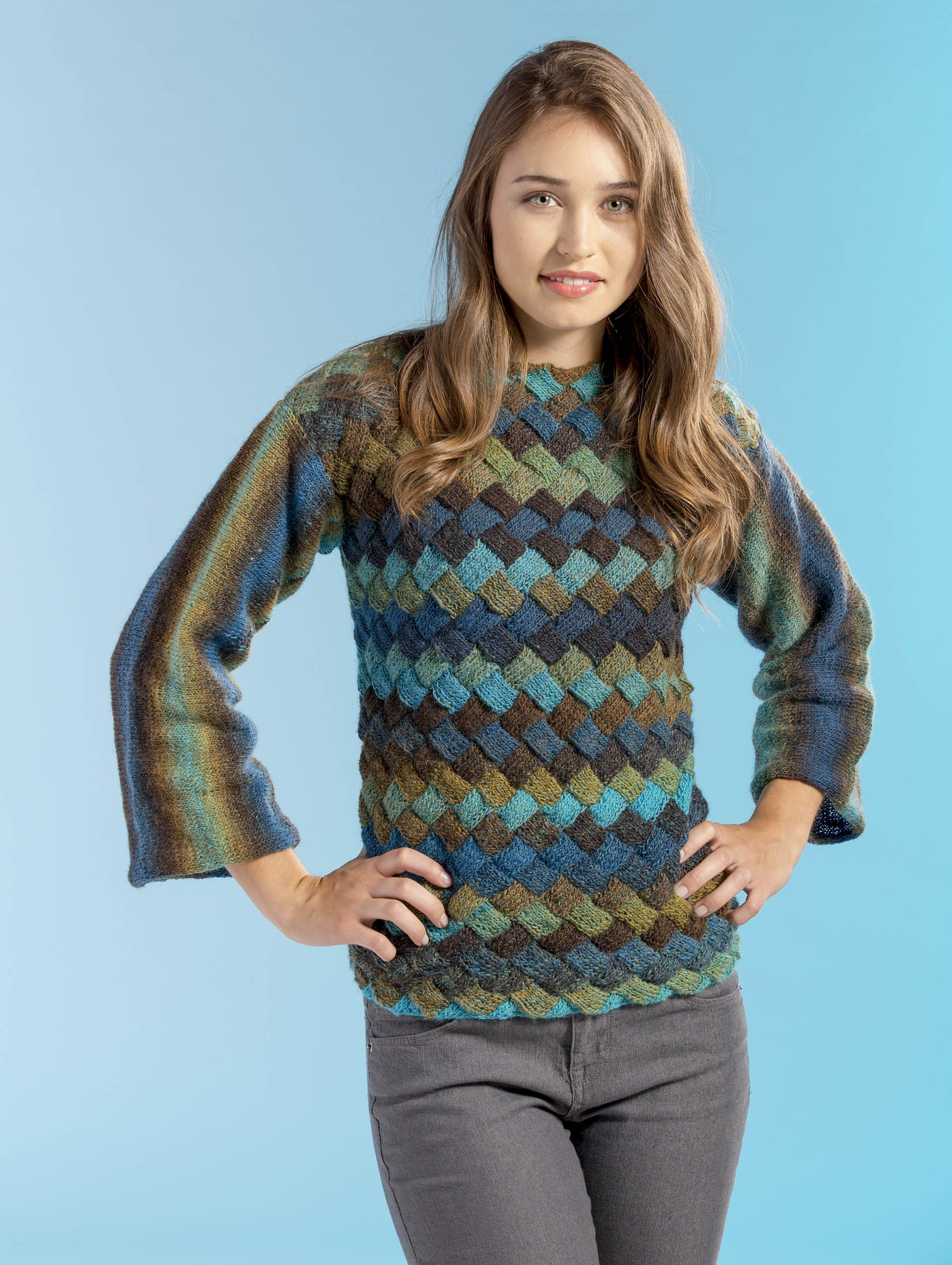 Free entrelac knitting pattern - the Landscape Sweater in Wisdom Yarns Poems ...