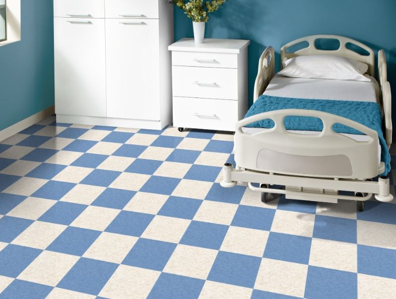 Armstrong 57508 Blue Dreams In A Checkerboard Pattern With Armstrong 51839 Classics Fortress White White Laminate Flooring Vct Flooring Flooring