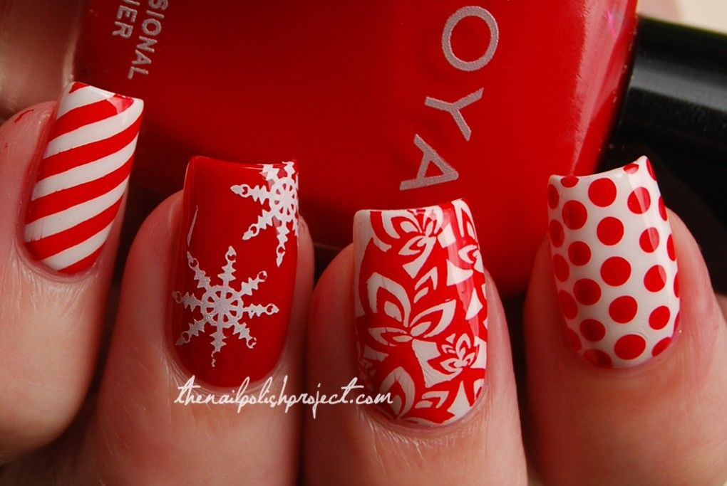 Red And Green Easy Christmas Nail Art Design Idea Elegant Red And