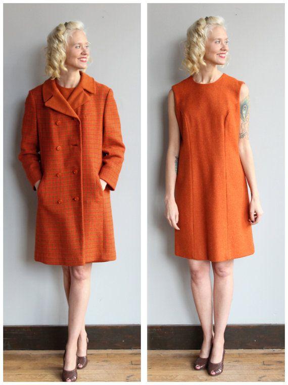 1960s Dress Set // Fall Warmth Dress & Coat // by dethrosevintage