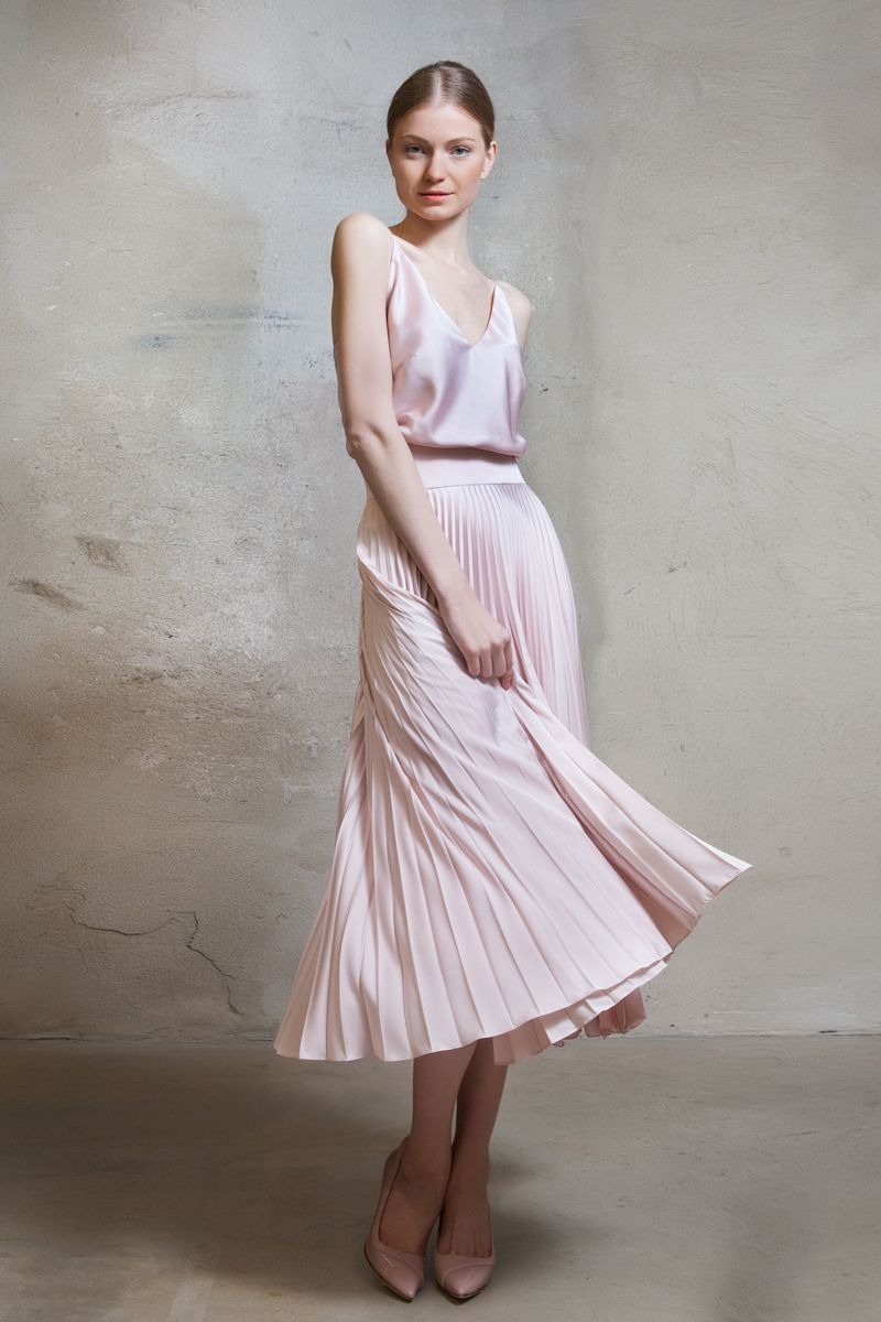 Satin sun-ray pleat dress with straps | Lilli Jahilo
