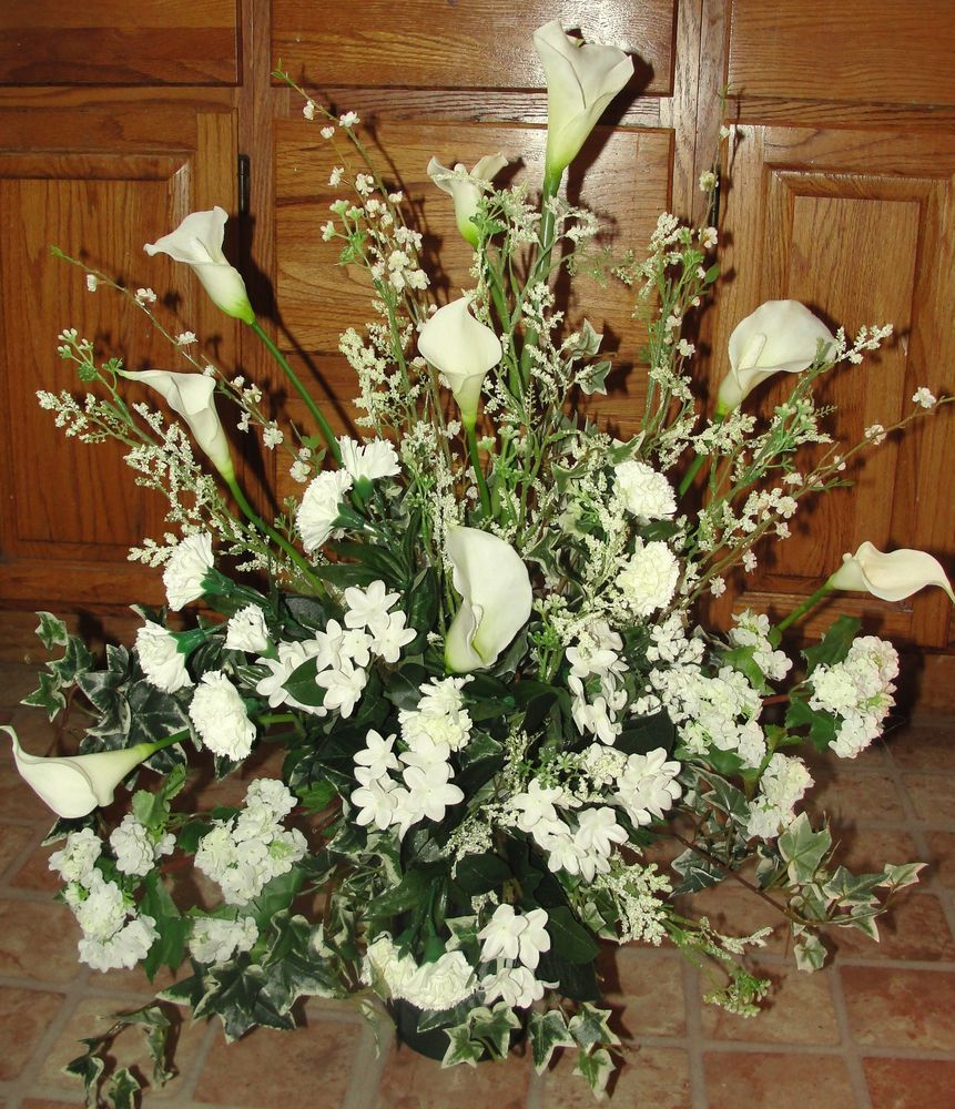 Floral Urns For Weddings: Details About High End Silk Flowers Church Wedding Altar