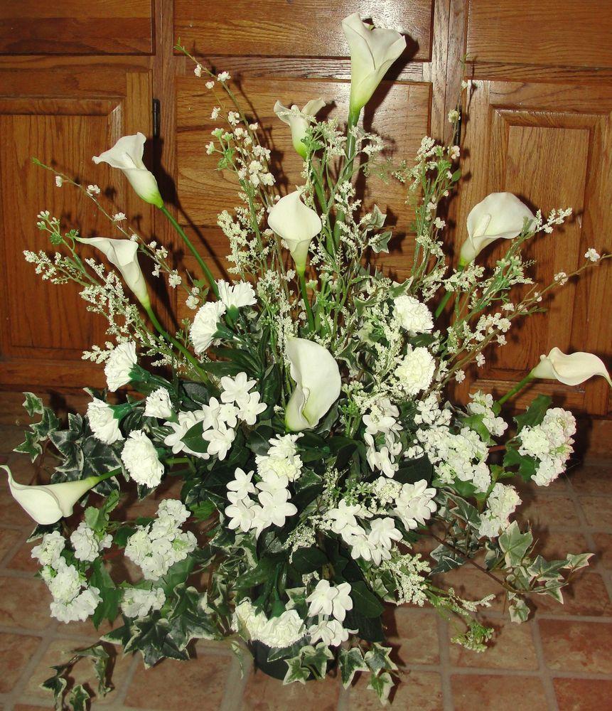 White Wedding Altar: High End Calla Lilies Stephanotis Flower Church Bridal