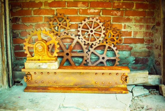 Faux Metal industrial Steampunk Wall Decor Set. Rusty Iron Gears ...