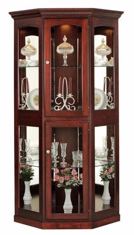 Amish Large Corner Curio Cabinet | Vitrinas de madera ...