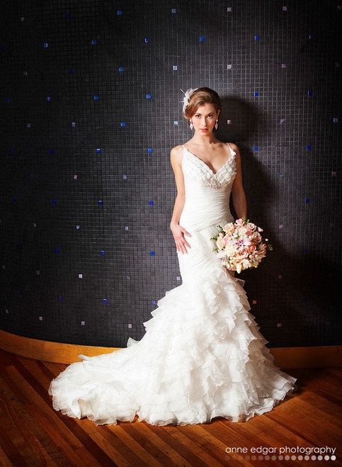 beautiful bride, bouquet and gown !