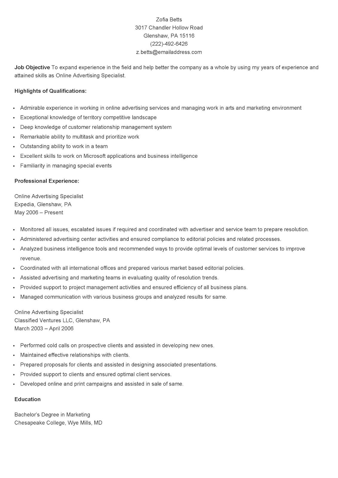Sample Online Advertising Specialist Resume Marketing Resume Online Advertising Resume Advice