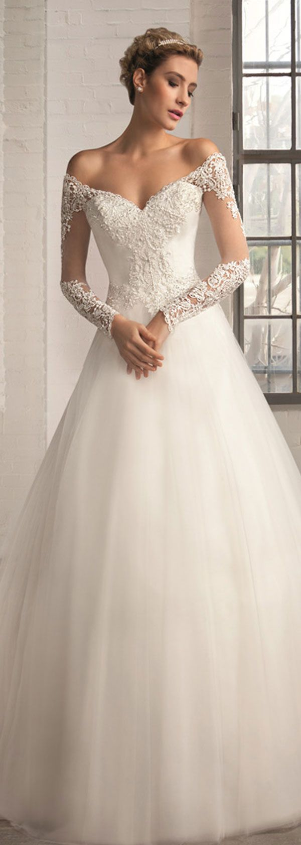 Elegant tulle offtheshoulder neckline aline wedding dresses with