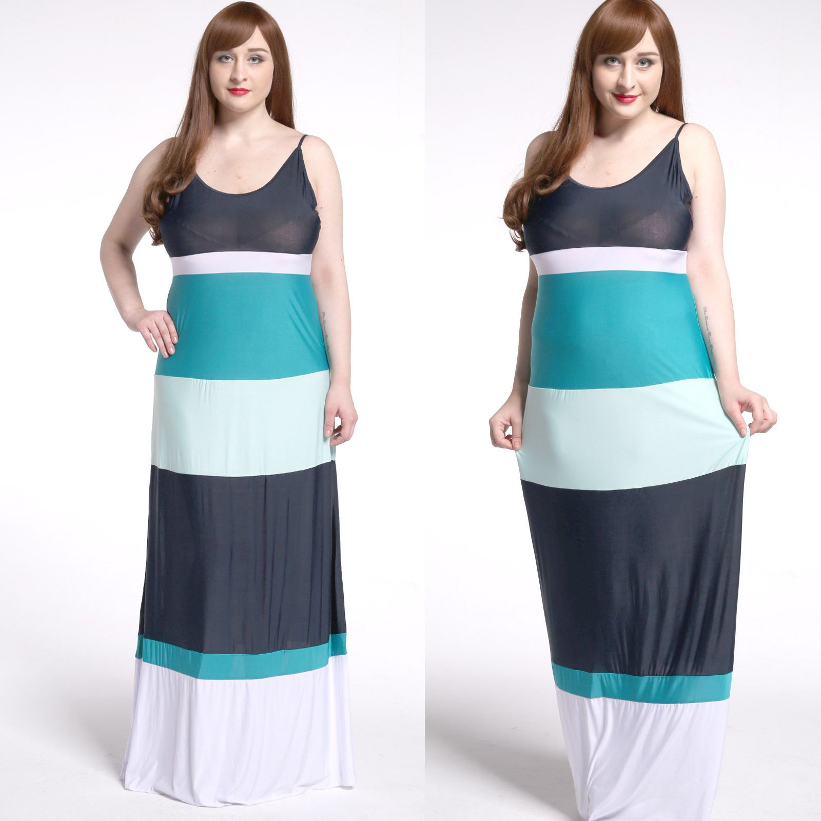 Plus size mxlstriped maxi gown womenus casual everyday party beach