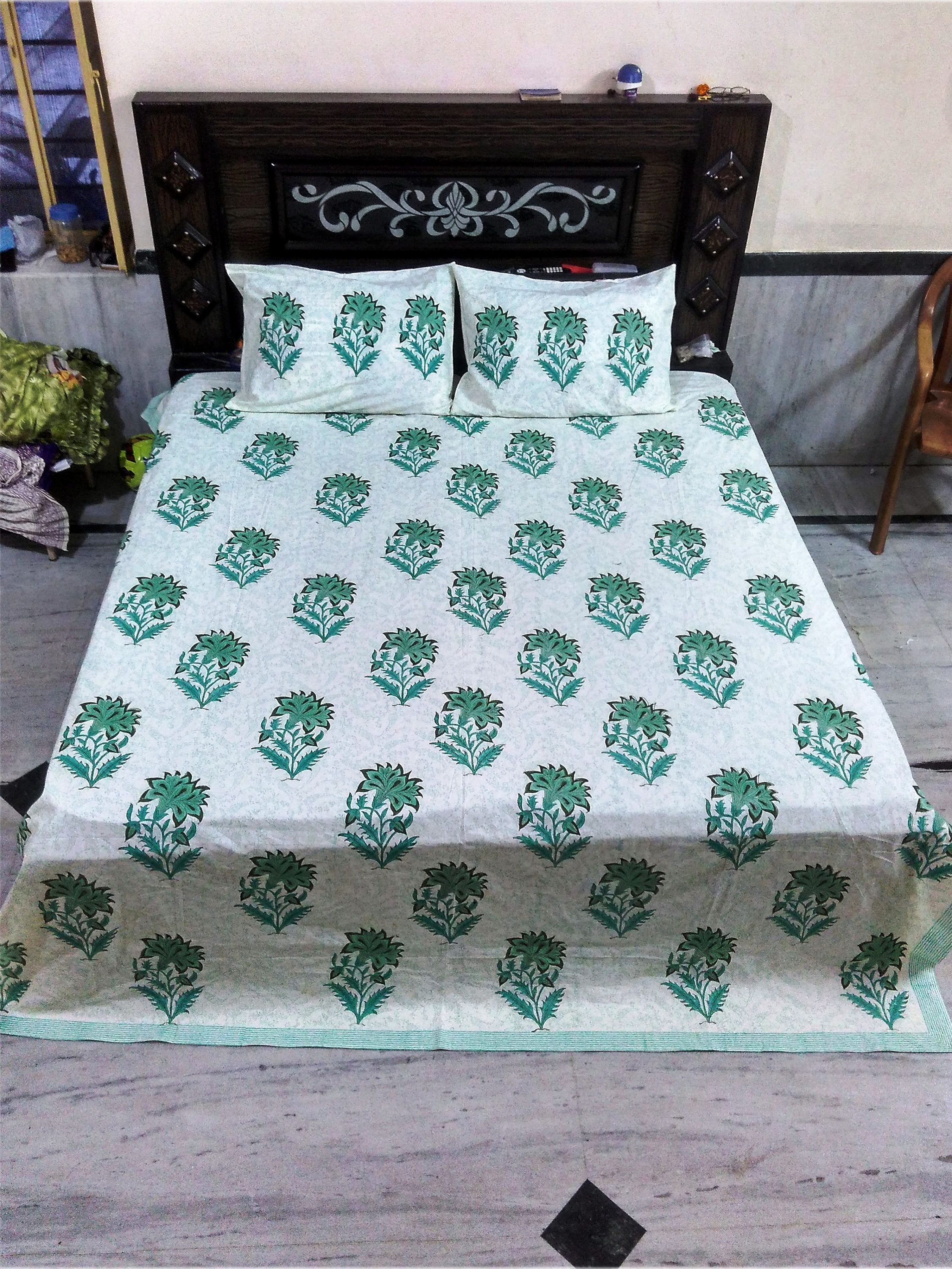 ae9a29aaa7 Natural Cotton Flat Bed Sheet Bedroom Decor, Hand Block Printed, King Size, Double  Bed Sheet, Soft Cotton Bed Sheet, Pillow Cases