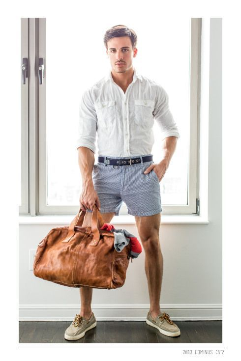 Men's White Long Sleeve Shirt, Light Blue Shorts, Beige Canvas ...