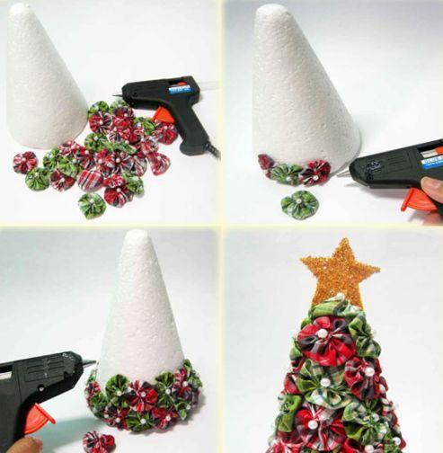 Passo A Passo Arvore De Natal De Fuxico Com Imagens Artesanato