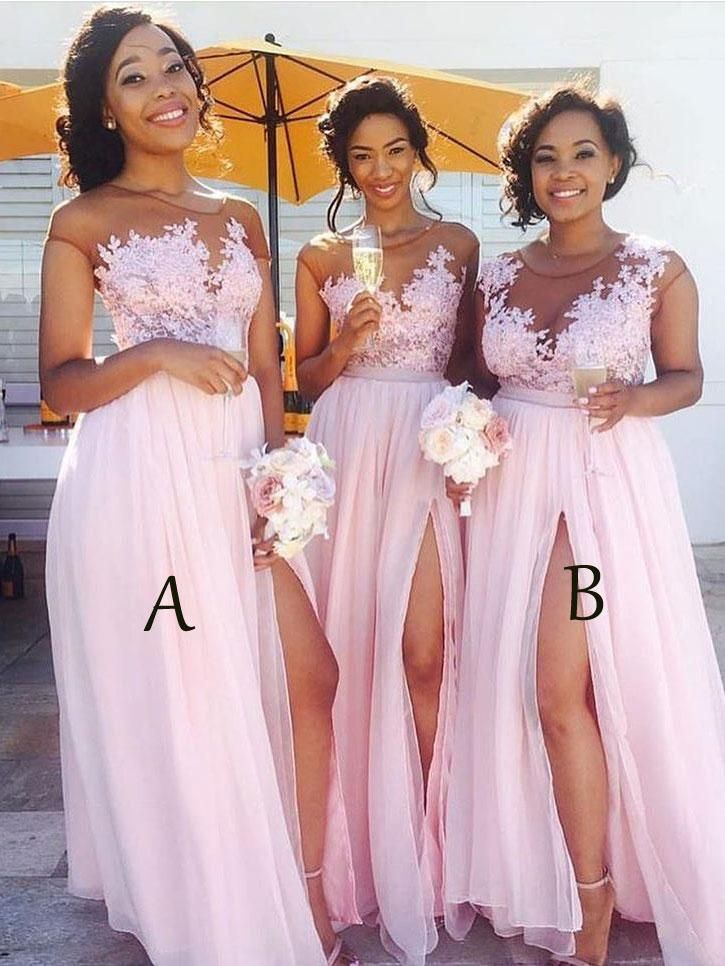 Lace Appliqued Bodice Pink Chiffon Long Bridesmaid Dresses with Slit ...