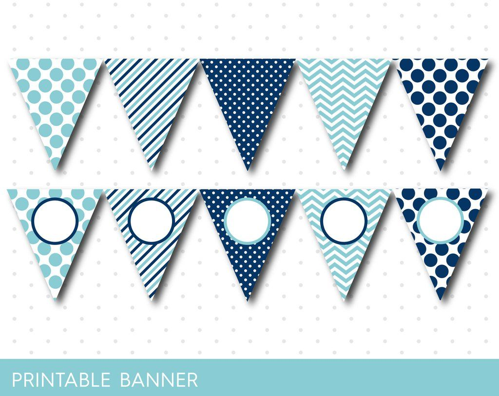 Blue Party Banner Birthday Baby Shower Blank Triangle Boy Girl PB 02