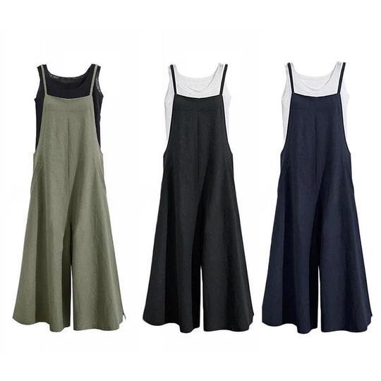 Plus Size Womens Sleeveless Cotton Linen Wide Leg Jumpsuit Long Trouser Overalls
