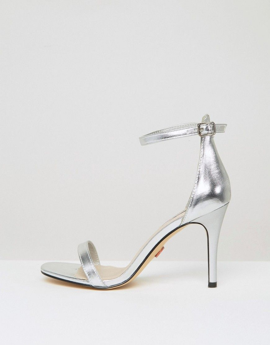Lost Ink Wide Fit Jess Silver Barely There Heeled Sandals