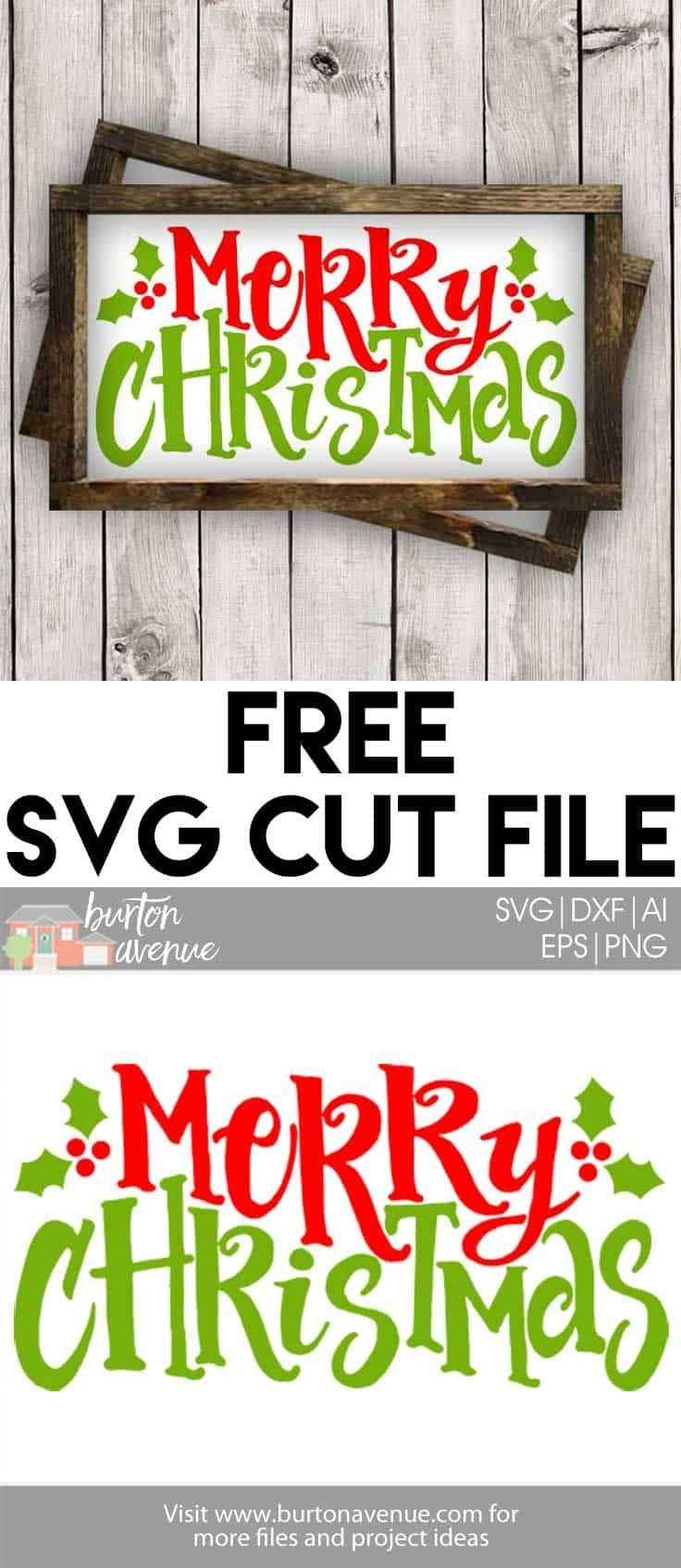 Free Svg Cut File Merry Christmas W Holly Berry Fonts