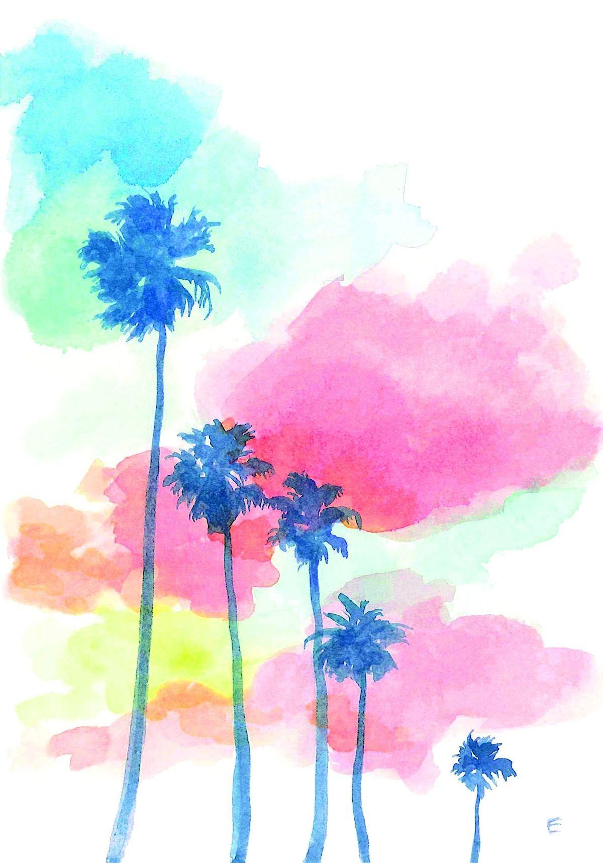 palm tree watercolor - photo #35