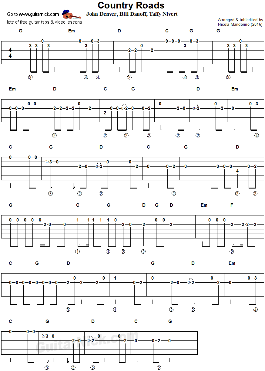 Take Me Home Country Roads Easy Guitar Tablature
