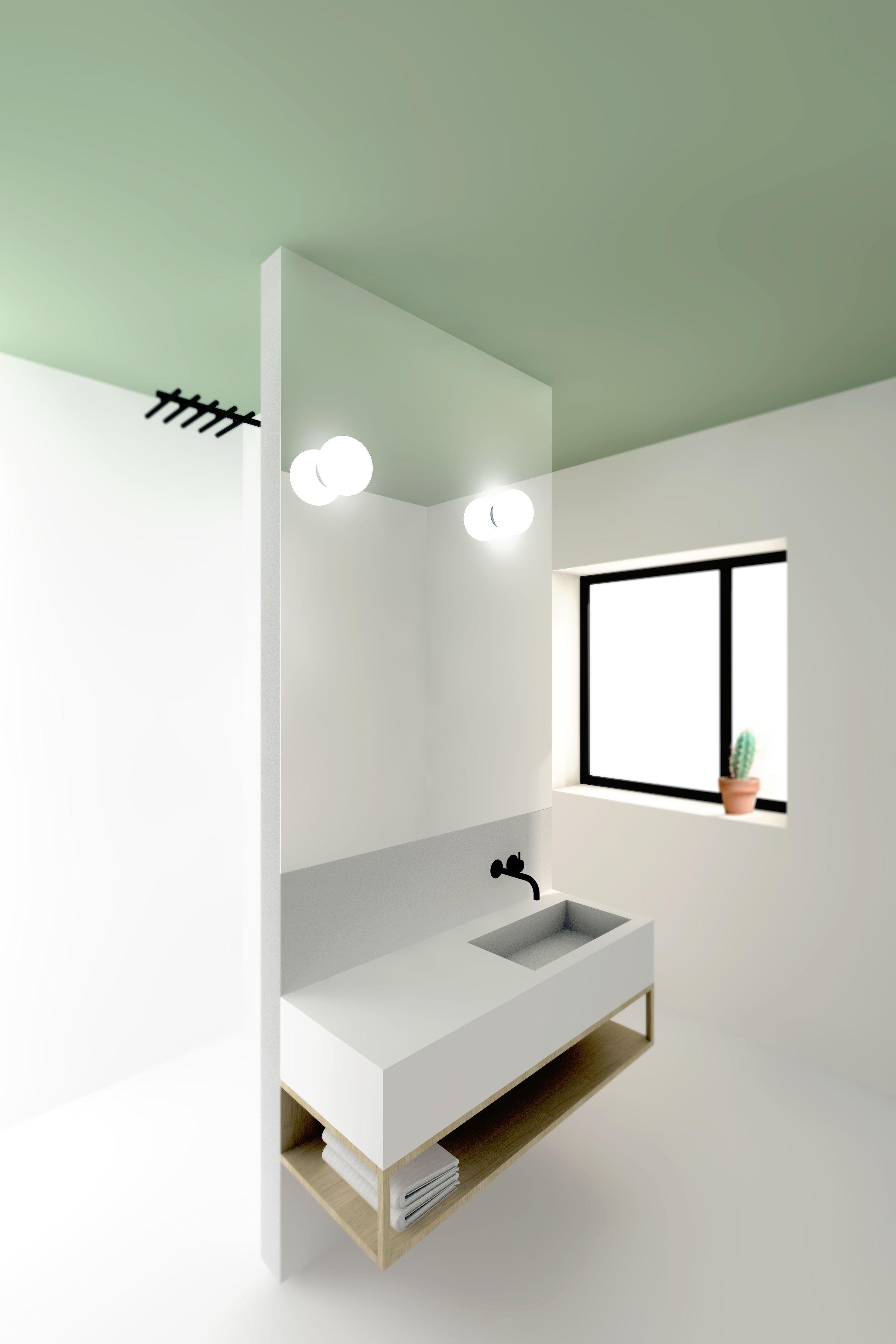 witte badkamer met inloop douche toilet en een ruimte scheidend