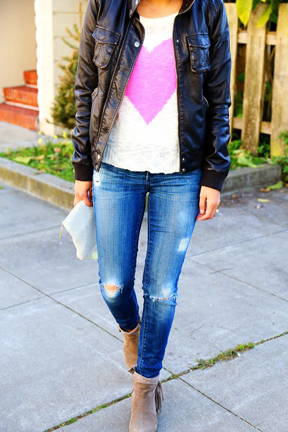 distressed jeans and leather jacket (jeans and t-shirt)