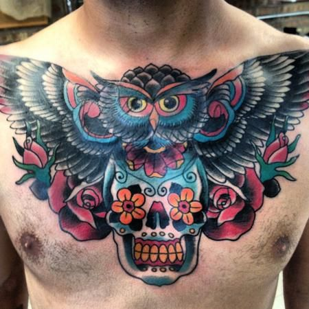 Lots Of Color Owl Chest Tattoos Owl Tattoo Chest Chest Tattoo