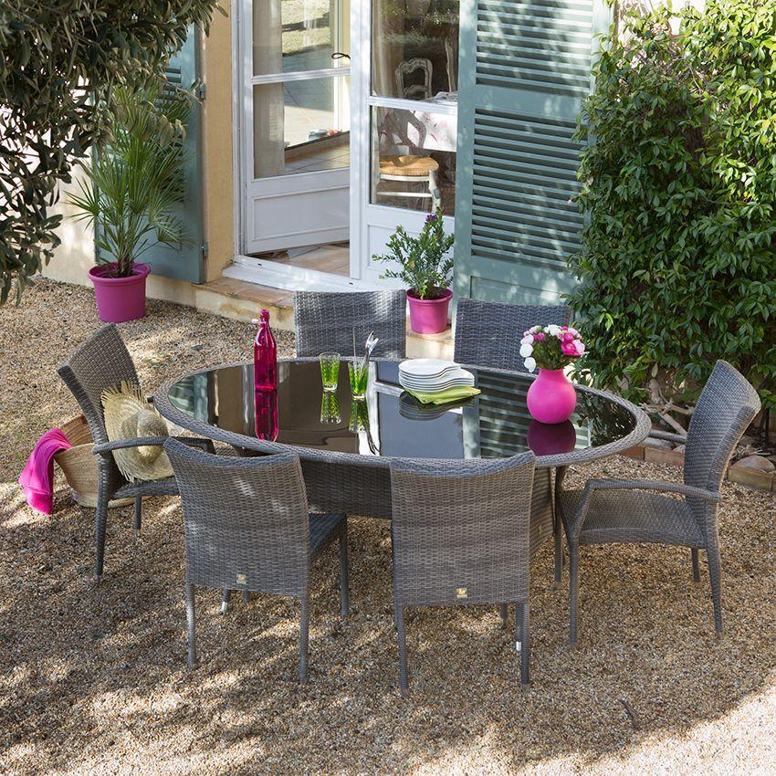 Salon de jardin en résine tressée 6 places OLISA http://www ...