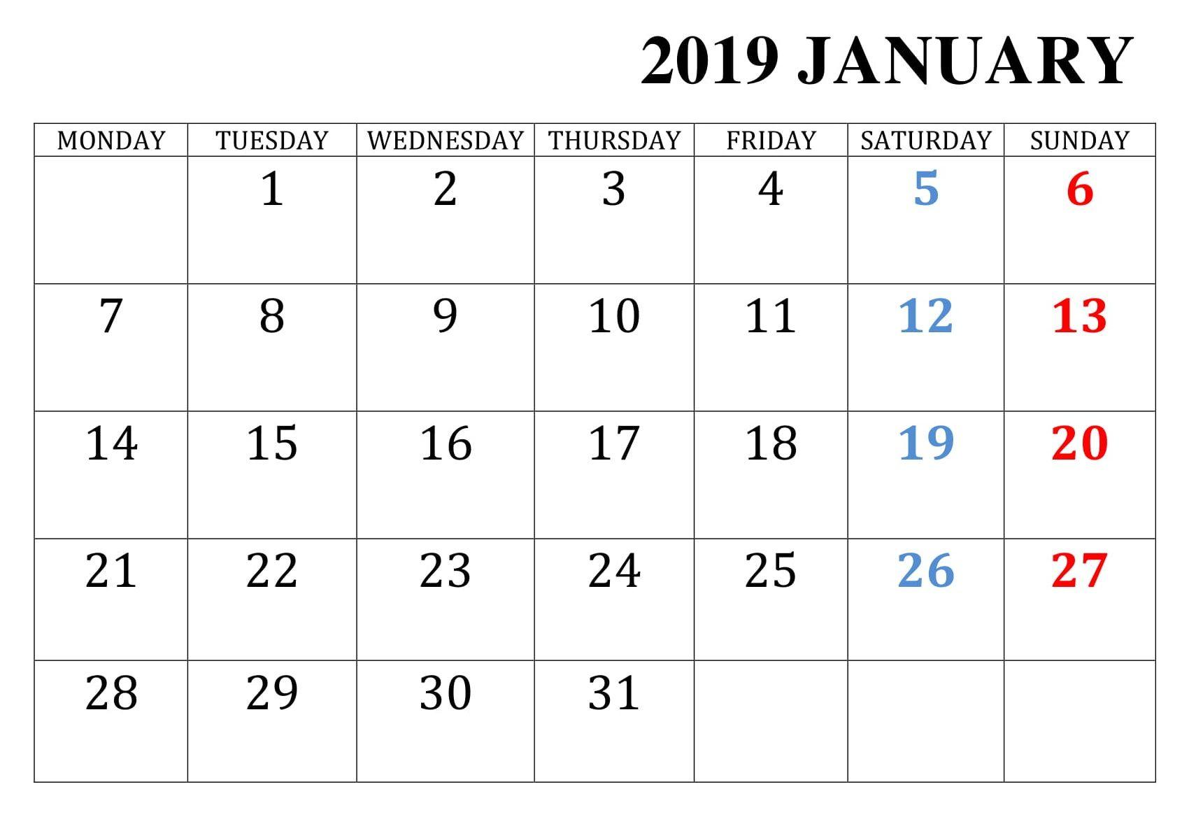 January 2019 Printable Calendar Calendar Printables June 2019