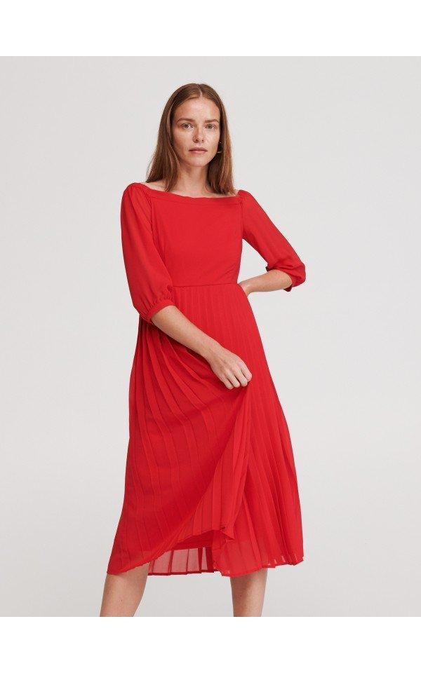 Sukienka Z Plisowanym Dolem Sukienki Kombinezony Czerwony Reserved Womens Dresses Dresses With Sleeves Dresses