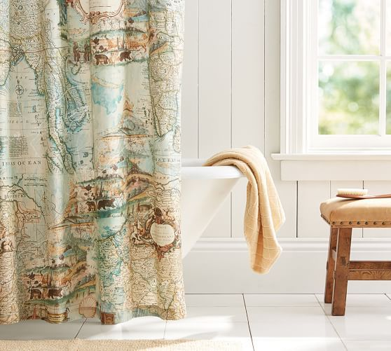 Map Shower Curtain | Pottery Barn | HomeStyle | Pinterest | Pottery ...