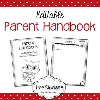 Parent Handbook Editable Prekinders Shop Parent