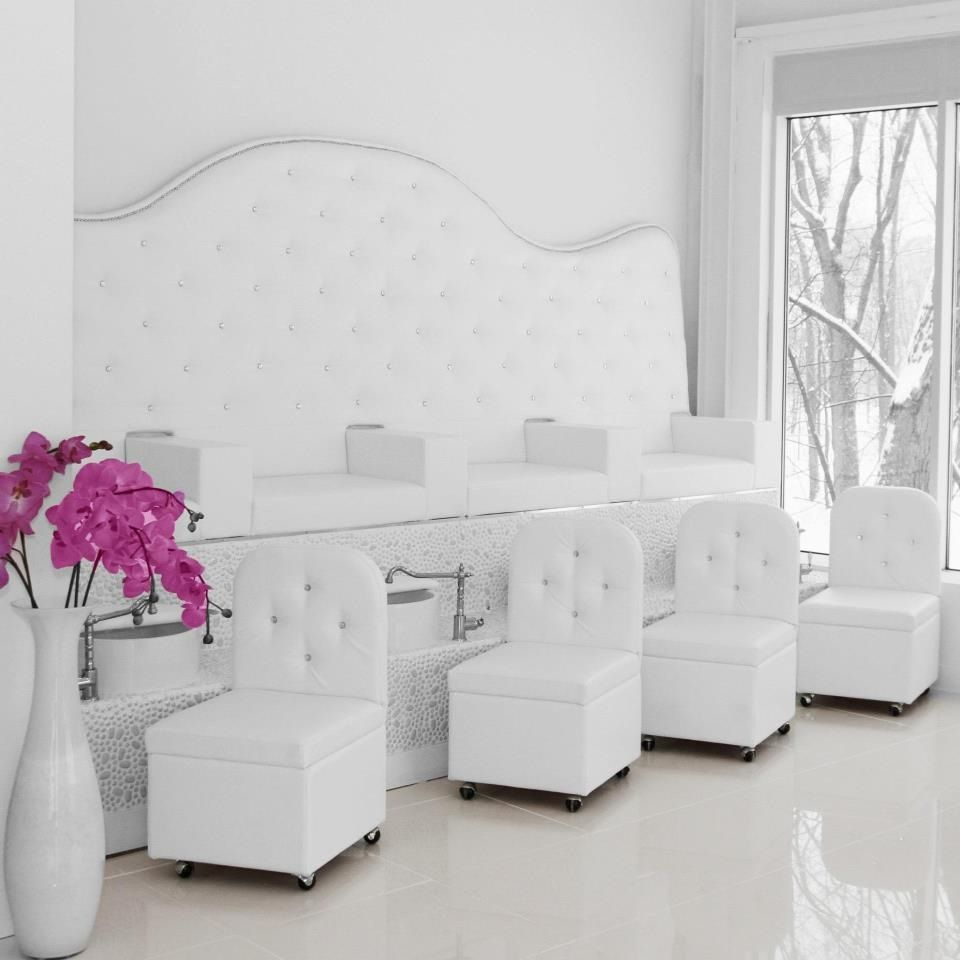 Nail bar just needs a few colorful toss pillows to break up that white pedicure chairs - Bar salon design ...