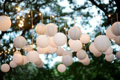 Beautiful Evening Garden Garden Party Lamps Outside Summer