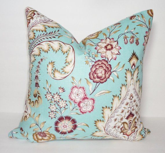Items similar to Turquoise Blue Purple Tan Floral Pillow Cover Decorative Linen Flower Pillow Throw Pillow Cover 18x18 on Etsy
