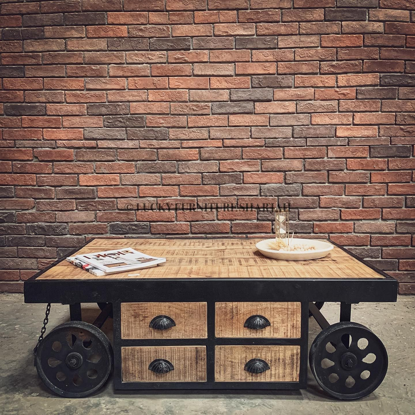 Industrial Wheel And Drawers Coffee Table Now Available For More Information Or To Place An Order Kindly Dm Or Whatsa Coffee Table Table Industrial Wheels [ 1440 x 1440 Pixel ]