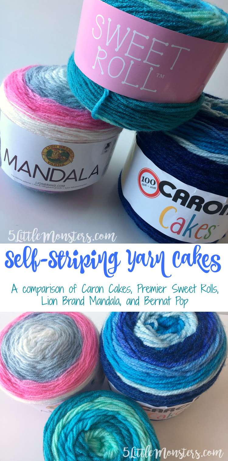 Self Striping Yarn Cakes: A Comparison of Caron Cakes, Premier Sweet ...