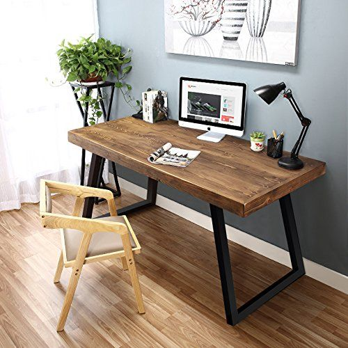 Little Tree 55 Rustic Computer Desk Solid Wood Veneer Mdf Constructed Industrial Desk With Heavy Duty Slanted Meta Furniture Simple Wooden Desks Home Decor