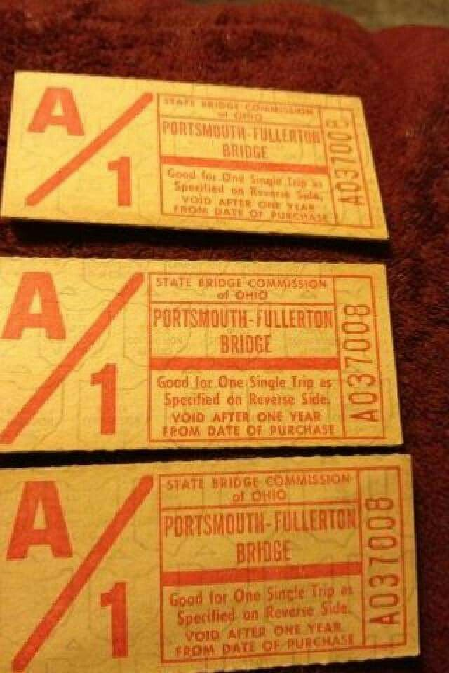 Toll tkts for the bridge to Kentucky - a piece of Portsmouth history