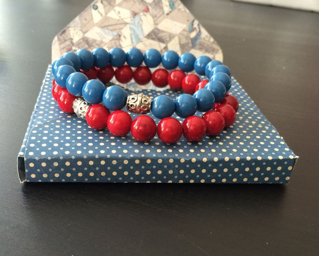 Couple Bracelets his and her - Blue Red