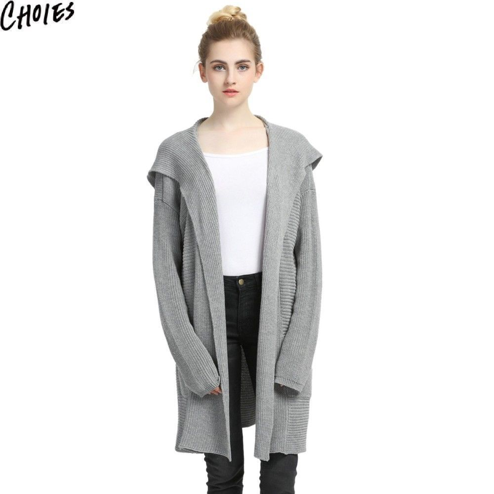 Choies Women Gray Pink Pockets Open Front Hooded Longline Cardigan ...