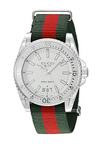 32142d01405 Gucci Men s YA136207 Dive Stainless Steel Watch with Stri... http