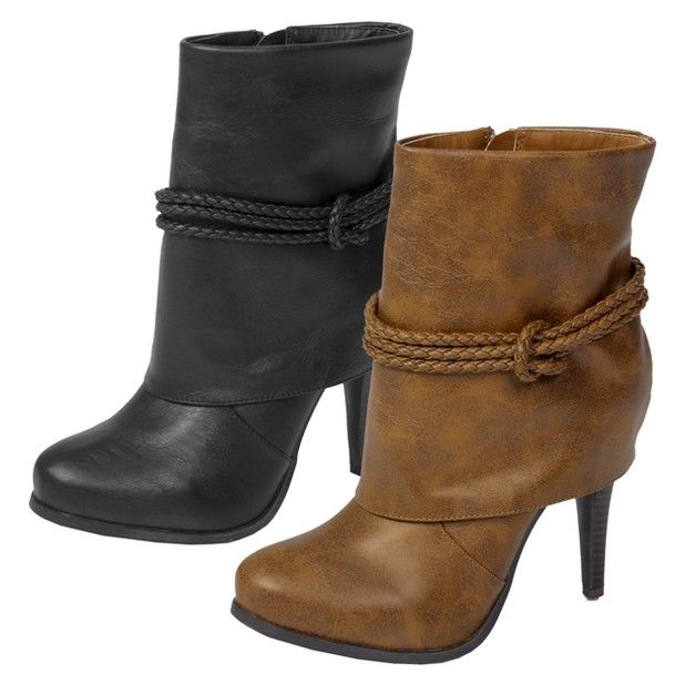 Cognac Boot With Fold Over & Braid